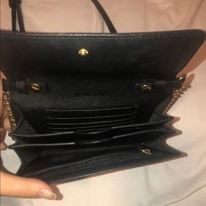 Michael Kors BLACK purse with GOLD chain strap